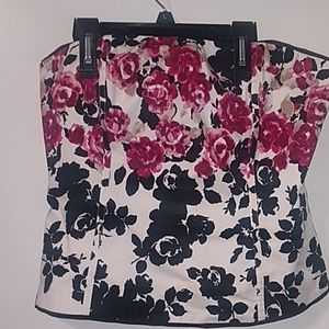 White House Black Market Floral StraplessBlouse 12
